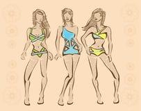 O esboço do swimwear ilustração stock