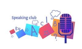 O esboço falador de conversação da comunidade empresarial do conceito do clube do microfone do vintage rabisca horizontal ilustração stock