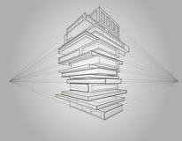 O esboço linear do conceito dos livros transformou às construções Fotos de Stock Royalty Free