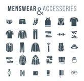 O esboço liso da roupa e dos acessórios da forma dos homens vector ícones ilustração do vetor
