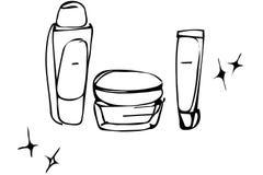 O esboço do vetor do cosmético desnata nos tubos e no banco Imagem de Stock