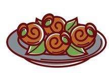 O escargot com as folhas frescas na placa isolou a ilustração ilustração royalty free