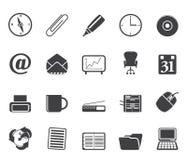 O escritório da silhueta utiliza ferramentas ícones Imagem de Stock Royalty Free