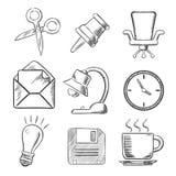 O escritório e o negócio esboçaram ícones Imagens de Stock