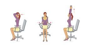 O escritório executa exercícios A jovem mulher no escritório executa exercícios para reforçar e relaxar os músculos do pescoço, b ilustração stock