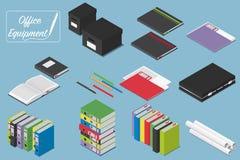 O escritório isométrico do tor da VE utiliza ferramentas ícones dos acessórios Para o infographics ou o projeto isométrico Fotos de Stock