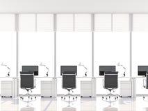 O escritório mínimo do estilo com janela de baía 3d rende ilustração do vetor