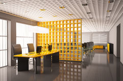 O escritório moderno 3d interior rende imagens de stock royalty free