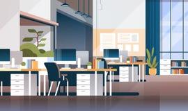 O escritório moderno da sala do armário do local de trabalho interior não esvazia ninguém espaço coworking horizontalmente horizo ilustração royalty free