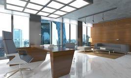O escritório Photorealistic rende Fotos de Stock Royalty Free