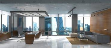 O escritório Photorealistic rende Fotografia de Stock