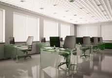 O escritório moderno com vidro tabela 3d Fotos de Stock
