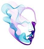 O espírito do tempo eletrônico digital, ilustração do vetor da inteligência artificial da cabeça humana feita de partículas ponti ilustração stock