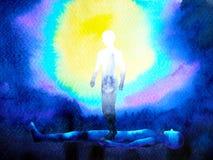 O espírito e o corpo humanos da alma conectam à conexão da mente para dentro ilustração stock