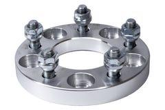 O espaçador 20mm da roda da liga clara fez pela máquina do torno do CNC Uso aumentar a distância entre o eixo dianteiro e traseir Fotos de Stock Royalty Free