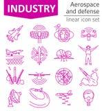 O espaço aéreo e defesa, grupo do ícone do avião militar Linha fina DES ilustração royalty free