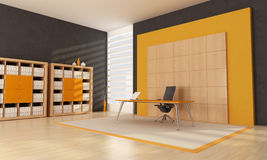 O espaço de escritórios alaranjado Foto de Stock Royalty Free