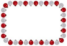 O espaço de prata vermelho da cópia do copyspace do quadro das quinquilharias das bolas do Natal é Fotos de Stock Royalty Free