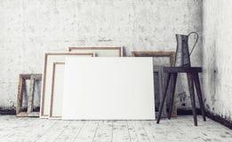 O espaço de trabalho no artista Studio, zomba acima do interior Imagens de Stock