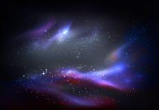 O espaço e galáxia, panorama do cosmos ilustração do vetor
