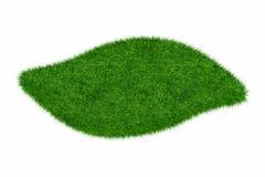 O espaço em branco vazio da onda da grama verde isolou o modelo 3d Fotos de Stock Royalty Free
