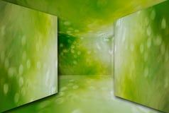 O espaço livre verde 3D da sala rende a luz Imagem de Stock