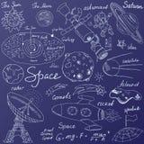 O espaço rabisca os ícones ajustados Entregue o esboço tirado com sistema solar, meteoros dos planetas e comats, Sun e lua, radar Fotos de Stock