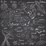 O espaço rabisca os ícones ajustados Entregue o esboço tirado com sistema solar, meteoros dos planetas e comats, Sun e lua, radar Imagem de Stock Royalty Free