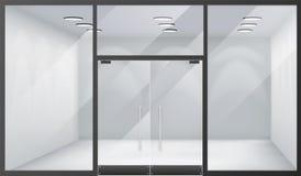 o espaço realístico das janelas da loja dianteira interior vazia da loja 3d fechou a ilustração do vetor do fundo do modelo do mo ilustração do vetor
