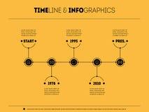 O espaço temporal infographic com ícones olha como buttoms Linha de tempo de ilustração do vetor