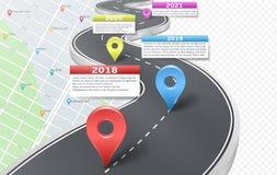 O espaço temporal infographic da estrada do carro do vetor com ponteiros ilustração royalty free
