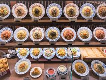 O espaguete da exposição do alimento de Japão chapeia o restaurante japonês italiano da fusão fotografia de stock