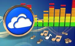 o espectro 3d audio nubla-se o símbolo Fotografia de Stock Royalty Free