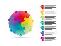 O espectro do arco-íris coloriu o molde infographic da apresentação do enigma com o campo explicativo do texto isolado no fundo b Fotos de Stock Royalty Free