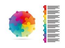 O espectro do arco-íris coloriu o molde infographic da apresentação do enigma com o campo explicativo do texto isolado no fundo b Imagens de Stock