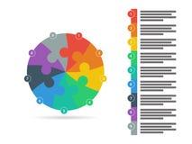 O espectro do arco-íris coloriu o molde infographic da apresentação do enigma com o campo explicativo do texto isolado no fundo b Fotografia de Stock Royalty Free