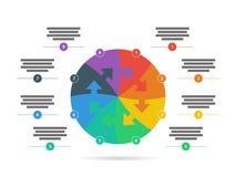 O espectro do arco-íris coloriu o molde infographic da apresentação do enigma com o campo explicativo do texto isolado no fundo b Imagem de Stock