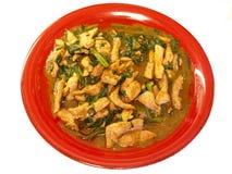 O espinafre da carne de porco & da água assa em satay Imagem de Stock Royalty Free
