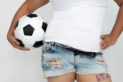 O esporte da mulher asiática com sua gordura da barriga Imagem de Stock Royalty Free