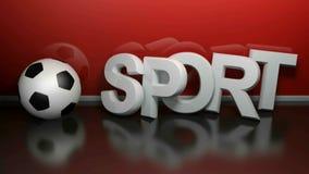 O esporte escreve com futebol, na parede vermelha - 3D rendeu a vídeo musical