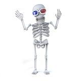 o esqueleto 3d aprecia um filme 3d Foto de Stock Royalty Free