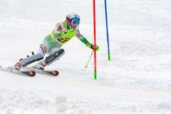 O esquiador compete dentro durante o super de Audi FIS o Ski World Cup Women alpino combinado o 28 de fevereiro de 2016 em Soldeu fotos de stock