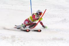O esquiador compete dentro durante o super de Audi FIS o Ski World Cup Women alpino combinado o 28 de fevereiro de 2016 em Soldeu imagens de stock