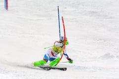 O esquiador compete dentro durante o super de Audi FIS o Ski World Cup Women alpino combinado o 28 de fevereiro de 2016 em Soldeu imagem de stock royalty free