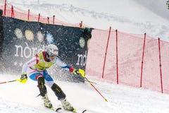 O esquiador compete dentro durante o super de Audi FIS o Ski World Cup Women alpino combinado o 28 de fevereiro de 2016 em Soldeu imagem de stock