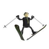 O esquiador da montanha salta no esqui da montanha Fotografia de Stock