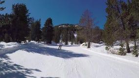 O esquiador rola para baixo uma estrada nevado nas montanhas sob o sol vídeos de arquivo