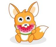 O esquilo dos desenhos animados está comendo a melancia Imagem de Stock Royalty Free