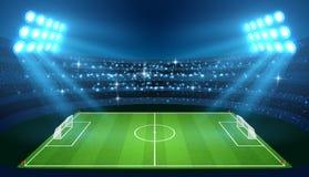 O estádio de futebol com campo de futebol vazio e os projetores vector a ilustração ilustração royalty free