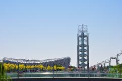O estádio de nacional de Pequim para os 2008 Olympics de verão fotos de stock